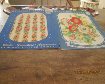 Decals, vintage 1940's 2 pieces 1 price, two florals