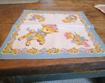 Children's hankies, lamb motif, wholesale lot of 15 pcs. one price, old stock never used 1930's