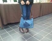 SALE, recycled denim bag, denim bag, denim and leather bag, upcycled bag, hobo bag, jeans bag, manbag, recycled leather bag, upcycled,denim
