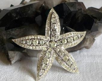 sale 15% Vintage Sterling Starfish Rhinestone Brooch Austrian Crystals Star Fish