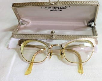 1950's ArtCraft Glasses Cat's Eye 12k G.F. Silver with  Case