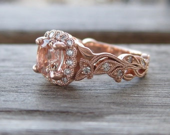 Cushion Cut Peach Morganite Engagement Ring in 14K Rose Gold with Diamonds in Flower Buds & Leafs on Vine Size 4