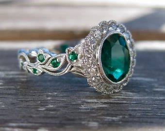 Natural Zambian Emerald Engagement Ring in 18K White Gold with Diamonds in Halo and Emeralds in Flowers & Leafs on Vine Setting Size 8