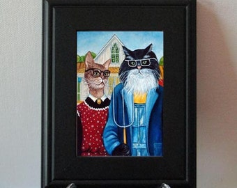 Prints, Framed Print, Cat Prints, Cat Art, Framed Cat Print, Folk Art, Fine art print, Home decor, Handmade