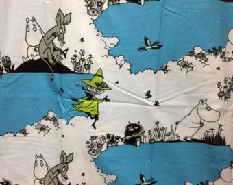 Moomin blue white Cotton Fabric for various projects, from Finland