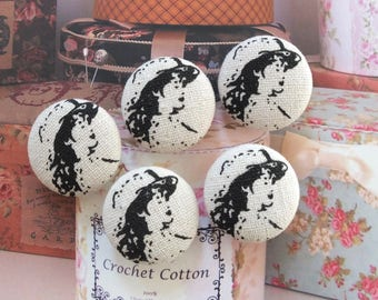Retro Black French Style Elegant Hat Lady Women-Handmade Fabric Covered Buttons(0.98 Inches, 5PCS)
