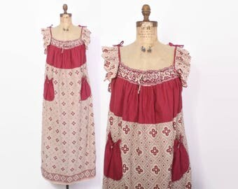 Vintage 70s INDIAN Cotton Dress / 1970s  Ethnic Loose Fit Bohemian Tent Dress