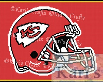 Kansas City Chiefs Helmet Logo Afghan PDF Pattern Graph + Written Instructions - Instant Download