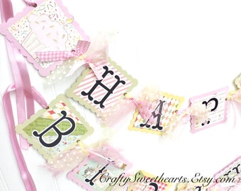 Happy Birthday Banner Cute Vintage Animals Theme Party Decoration