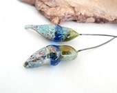 Crusty and Shiny Bulbous Embonpoint Olive and Aquamarine Capri Lampwork Headpins Pair