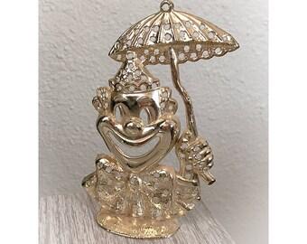 Vintage 1970s Torino Clown Earrings Holder Tree Gold Tone