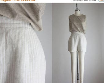 25% SALE striped linen high waisted shorts