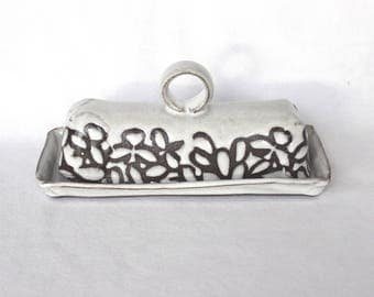 Butter Dish with a Handle , White Modern Floral