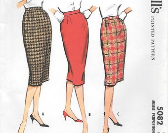 McCalls 5082 UNCUT 1950s Proportioned Tight Fitting Skirt Vintage Sewing Pattern Waist 28 Wiggle Skirt