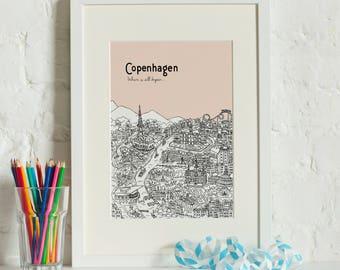 Personalised Copenhagen Print | Unique Wedding Gift | Copenhagen Illustration | Art Prints | Engagement Gift | City Print | Housewarming