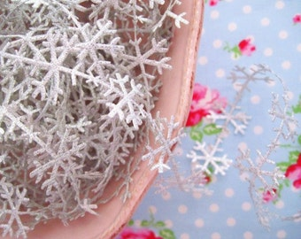 Metallic Silver Snowflakes Ribbon/Trim - 1 inch - 2 Yards