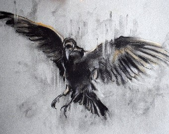 """Original Charcoal Drawing Flying Crow Black and White Art 12x8"""""""