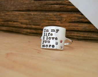 Nameplate Ring with Diamonds in Silver or Gold / Personalized Ring Handmade Square Name Plate