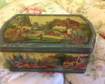 Vintage 1930s English Country Cottage Toffee Tin