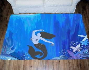 mermaid area rug etsy. Black Bedroom Furniture Sets. Home Design Ideas