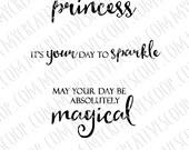 Digital Stamp Princess Sentiments - Princess Coloring Page - Princess Digi - Instant Download for Cardmaking