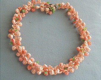 Vintage Plastic Flower Necklace Salmon and Peach West Germany