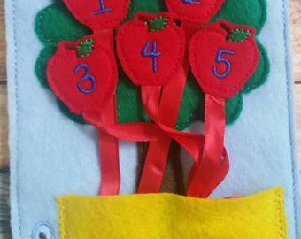 Toddler quiet book- quiet book pages - Learn numbers page -  felt apple tree - pocket - Build your own quiet book - busy book