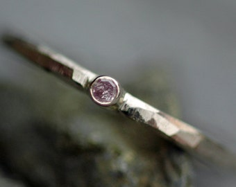 Natural Pink Diamond in Faceted 14k White Gold Ring- Promise or Engagement Ring, Ready to Ship