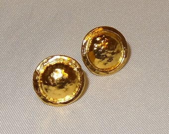 Hand Crafted 22k Yellow Gold Hammered Disc Post Earrings