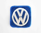 Vintage Volkswagen Embroidered Patch in Blue and White. New Old Stock. Circa 1960's - 1970's.