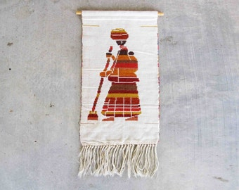 Vintage Mid Century Woven Wall Tapestry with Indigenous Woman. Circa 1960's.