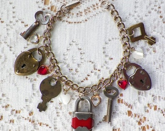 Handmade Love Locked Bracelet with Vintage Glass Hearts / Heart Shaped Charms, Upcycled Vintage Small Keys, Vintage Small Padlocks, Romantic