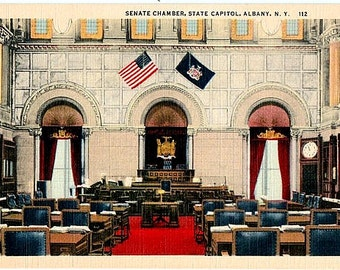 Vintage New York Postcard - The Senate Chamber in New York State Capitol Building, Albany  (Unused)
