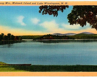 Vintage New Hampshire Postcard - Lake Winnisquam, Mohawk Island and Belknap Mountains (Unused)