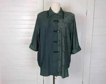 90s Rayon Blouse in Blue Spruce- 1990s Plus Size Tunic- Floral & Striped- Teal