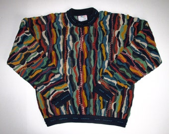 COOGI Australia FALL Sweater Mens S Cotton, Long Sleeve Crew Neck Sweater, Hipster Textured Squiggle Stripes Teal Gold Brown Blue Blk Multi
