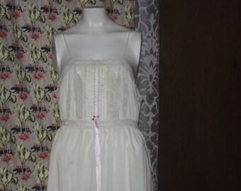 Vintage 60's Cotton Boho Long Nightgown Lingerie L