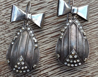 Bow Earrings Silver Vintage Art Deco Bow and Tear Drop