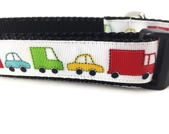 Dog Collar, Vehicles, 1 inch wide, adjustable, quick release, medium, 13-19 inches