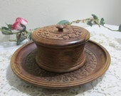 Carved Wood Covered Bowl and Plate Tray Set