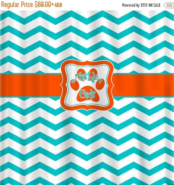 12 Days Christmas SALE Custom Personalized Chevron Shower Curtain - aqua and orange with paw print