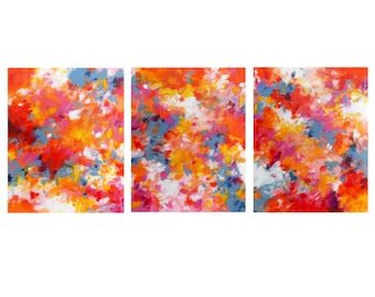 Original Triptych Abstract Expressionist Paintings, Modern Home Decor, Colorful Contemporary Wall Art, Set of 3 acrylic 16x20 canvases