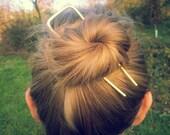Minimal geometric hair fork Gold hair fork Modern Metal hair stick Long hair Boho accessories Brass Bun holder Womens gift For her