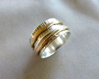Sterling Spinner Ring, Wide Band Ring, Meditation Ring, Men's Spinner Ring, Hammered Sterling and Gold Spinner Ring, Size 12