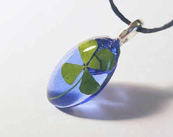 Real Four Leaf Clover Resin  Nature Necklace Pendant Bohemian Jewelry Green 4 Leaf Lucky Blue