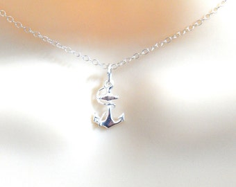 Tiny Sterling Silver Anchor Choker Necklace, Dainty Anchor Choker