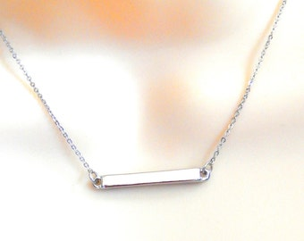 Bar Necklace, Silver Bar Necklace, Layering Necklace, Minimalist Jewelry