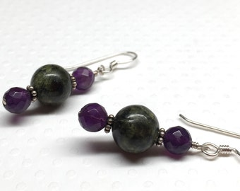 Green & Purple Earrings, Serpentine and Amethyst Earrings
