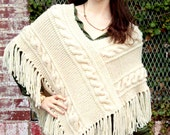 INSTANT DOWNLOAD PDF Vintage Knitting Pattern  Aran Style Cable Poncho with Fringe  Cape Wrap Cloak  Bulky Chunky