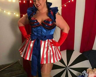 4th of July Showgirl Cosplay Bustle Burlesque Ringmaster Circus apron skirt